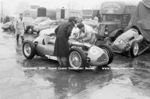 Alta F2 cars in Silverstone rain-soaked paddock 1951 Daily Express Trophy